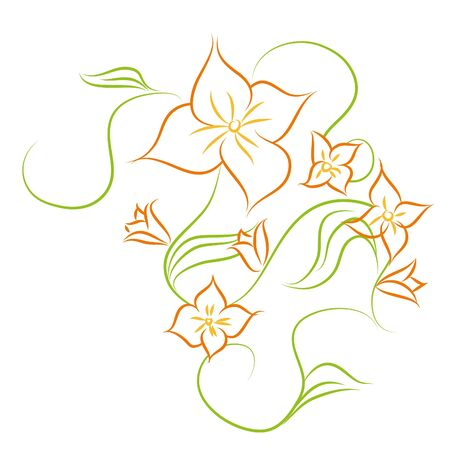 Beautiful flowers on white background (illustration) Stock Vector - 7792998