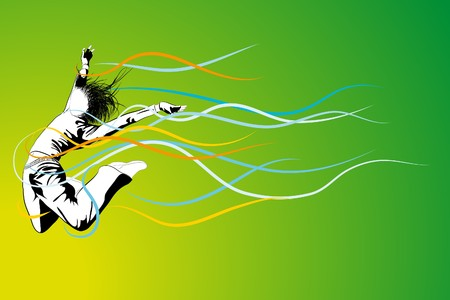 girl jumping on green background ( illustration) Stock Vector - 7792782