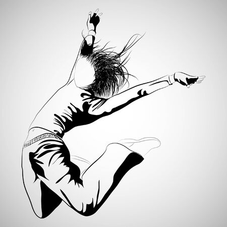 girl jumping on gray background (  illustration) Stock Vector - 7792822