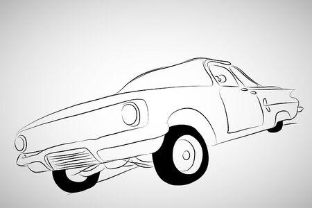 Old black  car on gray background (illustration) Stock Vector - 7793165