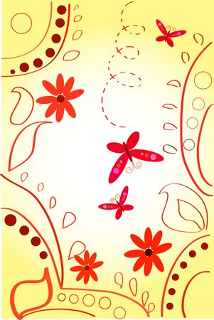 pinstripes: colour pattern with butterfly, flowers and pinstripes Illustration