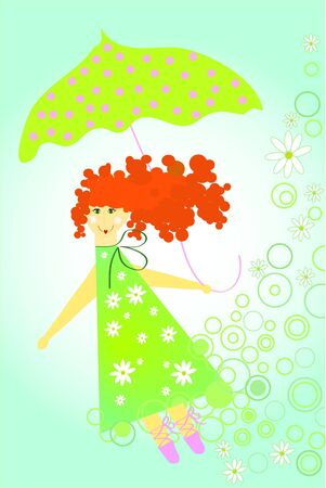 Girl fly with green umbrella (summer color) Stock Vector - 7792994