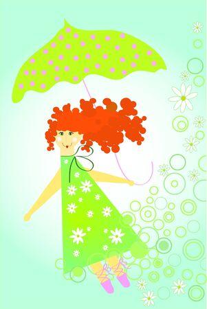 Girl fly with green umbrella (summer color) Stock Vector - 7792994
