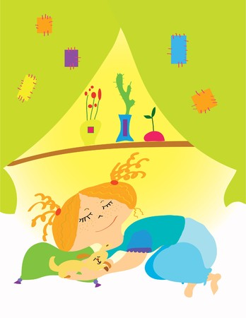 beautiful girl sleeping on a bed in the room Stock Vector - 7792924
