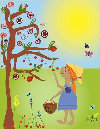 Beautirul girl collects apples in sunny day Stock Vector - 7792926