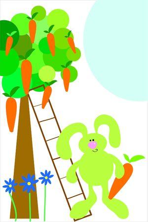 carrot tree: green rabbit and carrot tree :) (sunny day)
