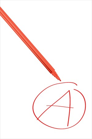 mark pen: Red pen and A, mark on white background