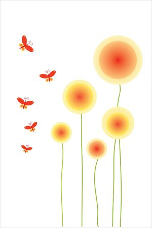 flowers and butterfly on white background Vector