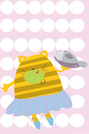 cat and fish on plate (cute illustration) Vector
