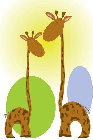 giraffa camelopardalis: two giraffe in sunny day ( illustration) Illustration