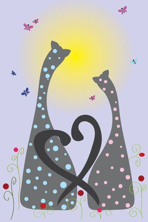 two cats with love on blue background ( illustration) Vector