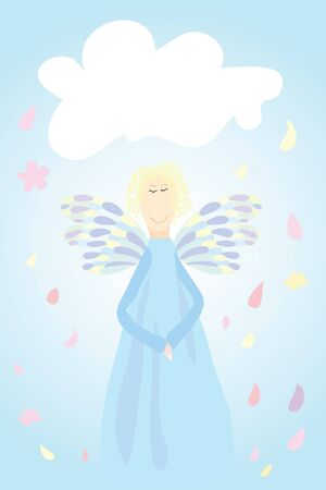 Angel in sky. Clouds around (  illustration) Vector