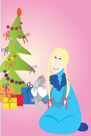 gaiety: Girl with gifts on pink background   Illustration