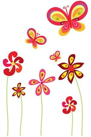 flowers and butterfly on white background Vektorové ilustrace