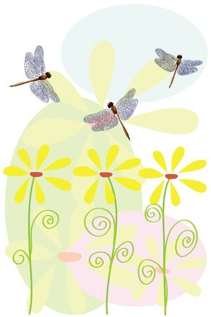 flowers and dragonfly on white background Vector