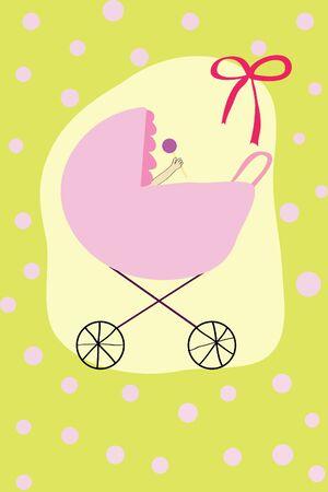 beanbag: newborn baby with beanbag in pink pram