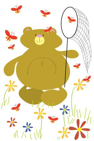 butterfly net: funny bear with butterfly net around flowers Illustration