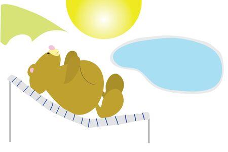 sunbed: funny camper bear in sunbed under umbrella Illustration