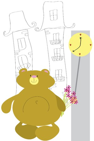 expectant: expectant funny bear with bouquet of flower Illustration