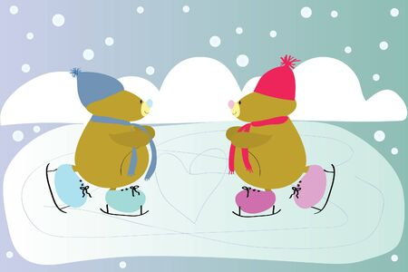 two funny sports bear skating in rink Vector