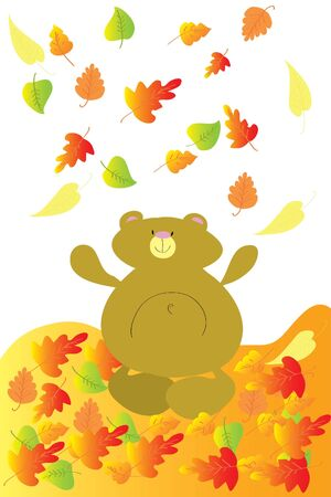 throw up: funny bear throw up bright autumn leaves