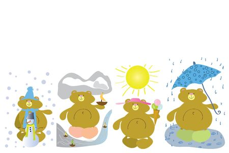 funny bear in winter spring summer and autumn Stock Vector - 7793000
