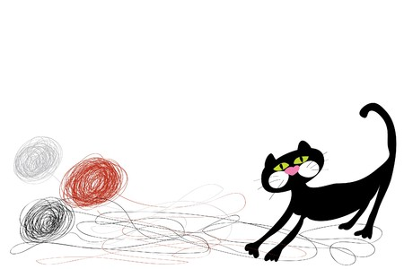 domestic cat: black funny domestic cat playing with threads