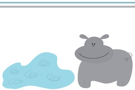 behemoth: funny smiling fat grey behemoth near puddle