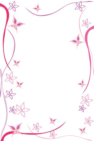 framing: framing of beautiful pink flower and butterfly Illustration