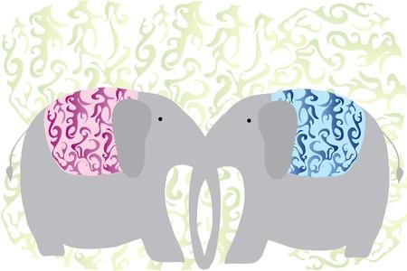 east indian: mantener dos elefantes de amor gris con tronco