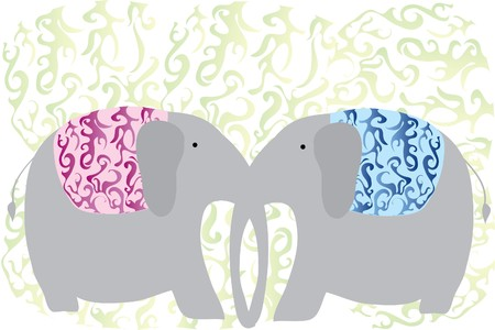 east indian: two love grey elephants keep with trunk Illustration