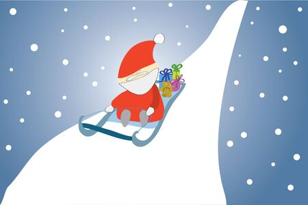 sledging: funny santa claus in sledge with presents