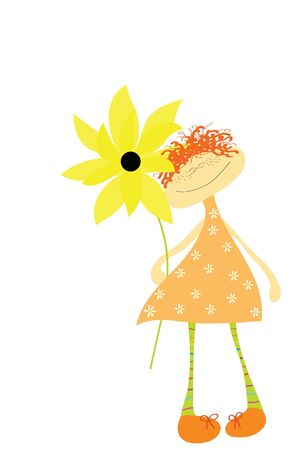 funny little redhead girl with beautiful sunflower