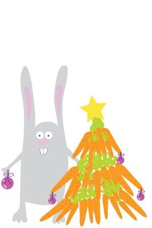 carrot tree: grey funny cute rabbit decorate carrot tree Illustration