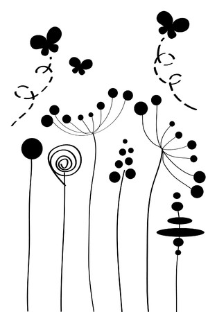 black and white plant: many beautiful black flowers on white background