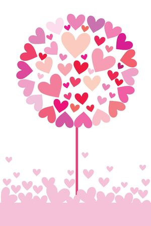 one colour: beautiful abstract heart tree on white background