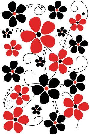 Bellas flores rojas y negras sobre fondo blanco