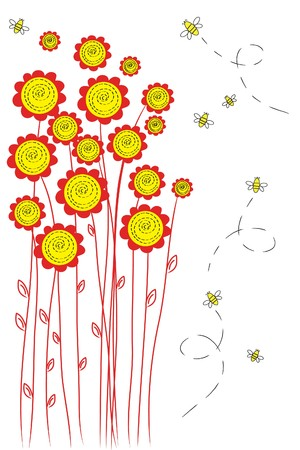 many beautiful red flowers on white background Stock Vector - 7792790