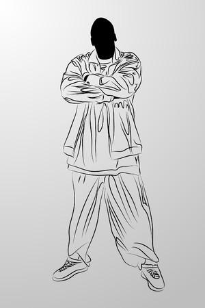 hip hop dance pose: hombre negro sobre fondo blanco (ilustraci�n) Vectores