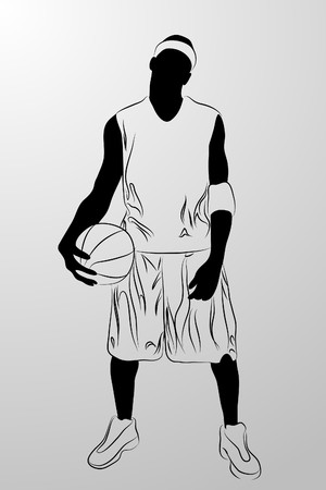 gang:  black man on white background (illustration) Illustration