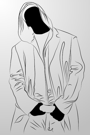 homme noir sur fond blanc (illustration)