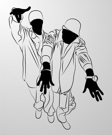 street dance:   black man on white background (illustration)