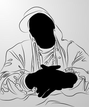 pandilleros: hombre negro sobre fondo blanco (ilustraci�n) Vectores