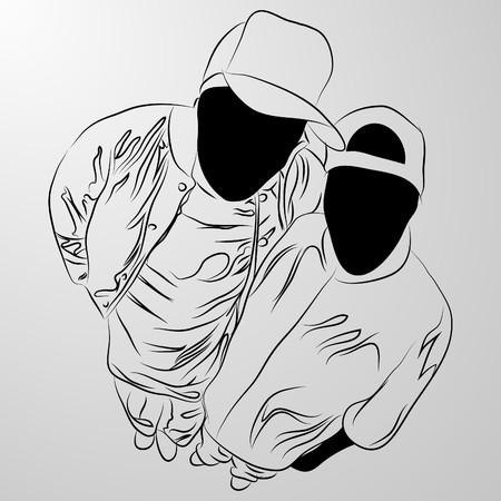 банда: черный человек на белом фоне (иллюстрация)