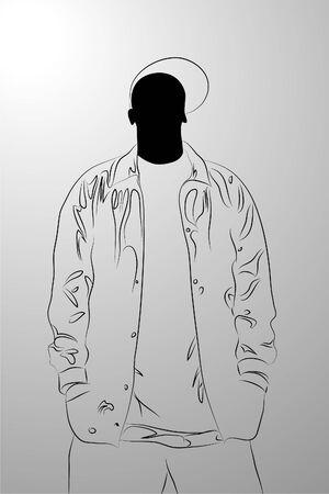 black man on white background (illustration) Vector