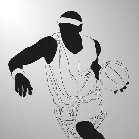 black rapper:  basketball player on white background (illustration)