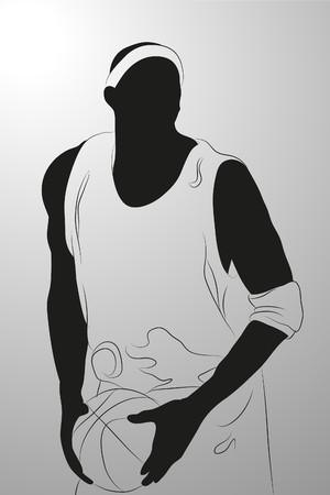 handsome boys:  basketball player on white background (illustration)
