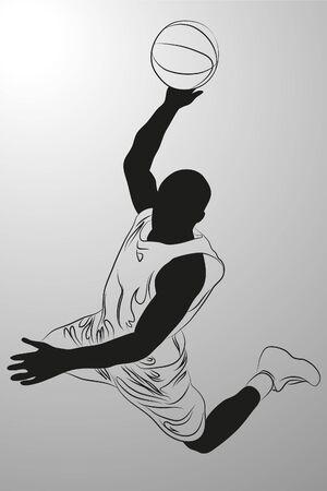 갱:  basketball player on white background (illustration)