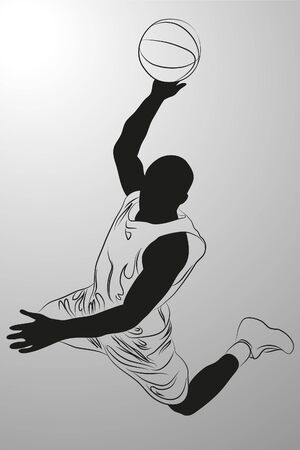 gang:  basketball player on white background (illustration)