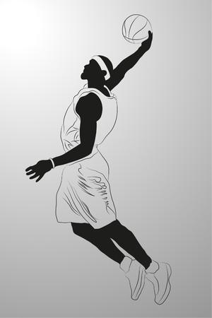 gang:   basketball player on white background (illustration) Illustration
